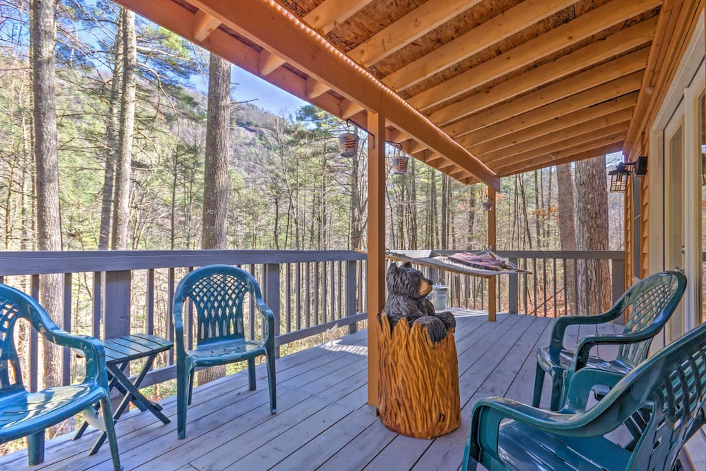 When you're not out and about, relax on the wrap around deck and enjoy the sight and sounds of nature.