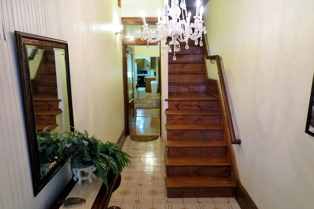 The apartment has the lower-level entryway. (There are stairs inside.)