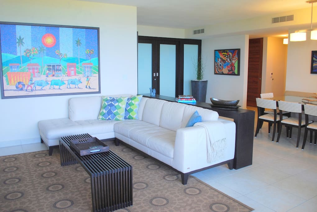 Ample living area with plush leather seating