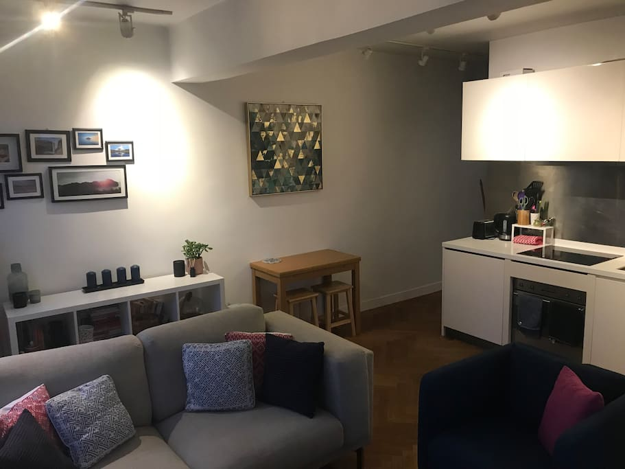 The living room and kitchen are open plan