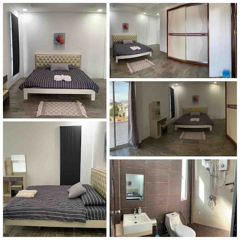 Room 1 (Master bedroom) • Balcony • One king size bed Toilet