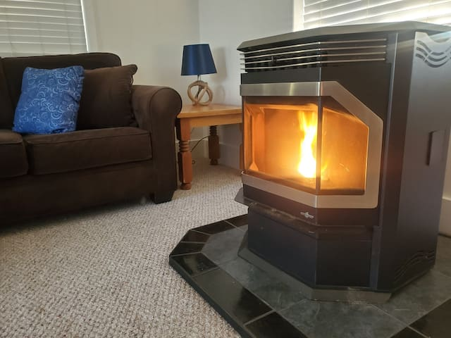 Pellet Stove - hot to the touch, not recommended for use with small children