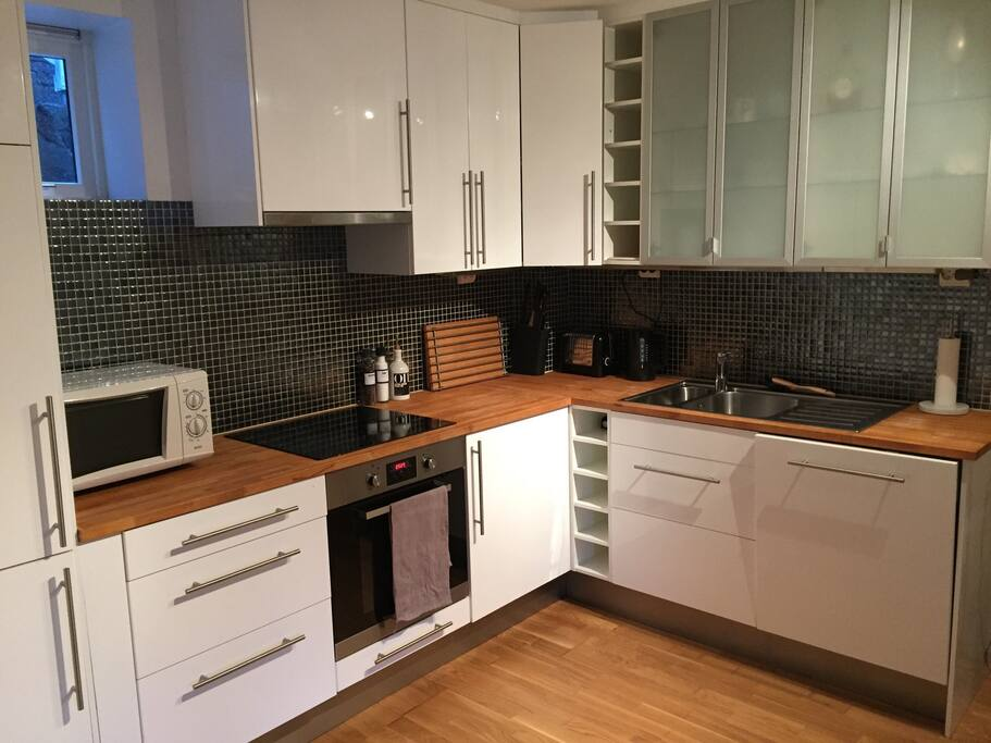 Kitchen with toaster, microwave ++