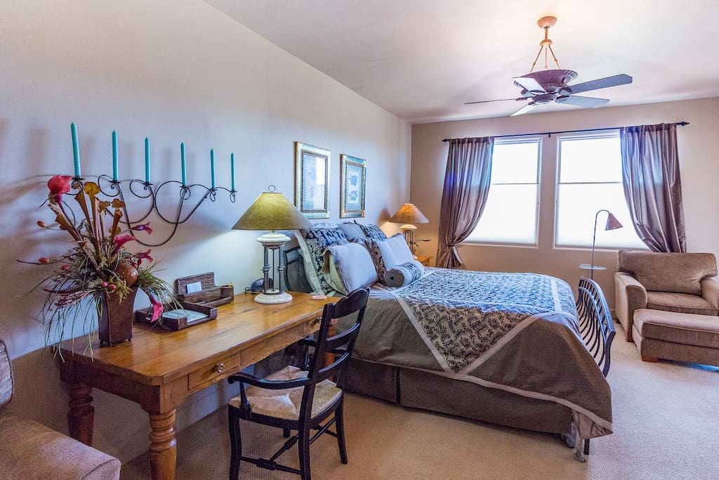 Very Large Master Bedroom With King Size Bed, TV And Exit To Back Patio