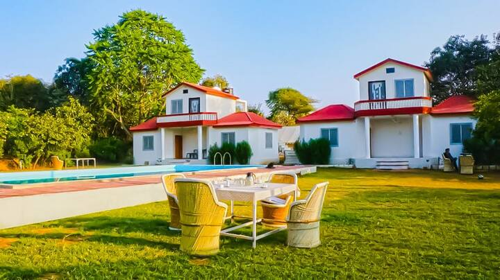 Pushkar Cottages with a View of Hills & open field