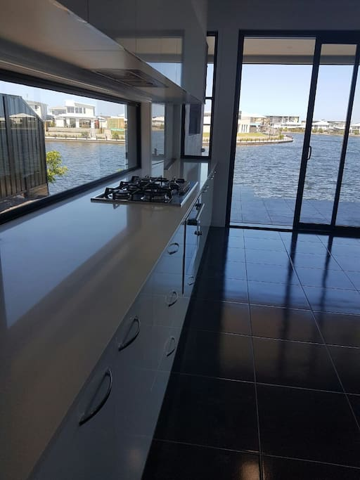 Kitchen over looking the water