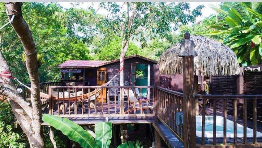 La Cabane Rêve d'Enfant terrasse et Spa vue nature