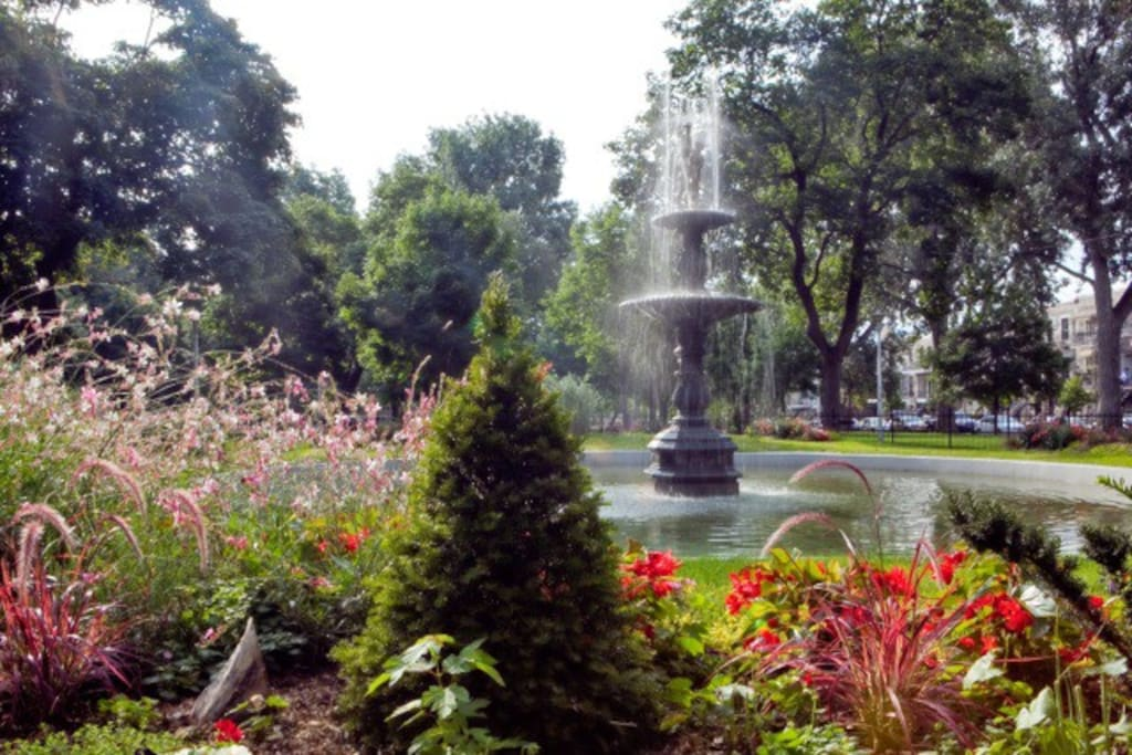 Parc Sir Georges Etienne Cartier, directly across the street!