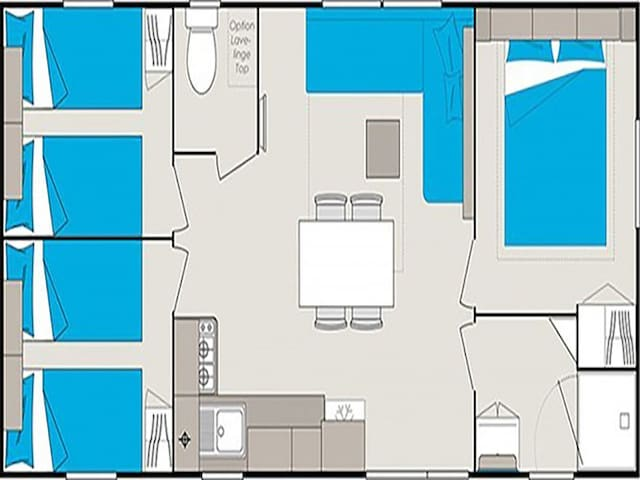 Exemple de mobile-home de 36m² avec lave-linge et lave-vaisselle