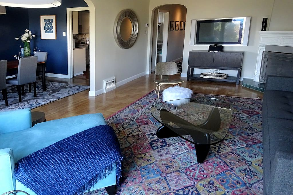 Adjoining dining room, kitchen and living room are open and inviting.
