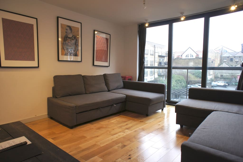 Here's the Living Room with Two Double Sofa-Beds