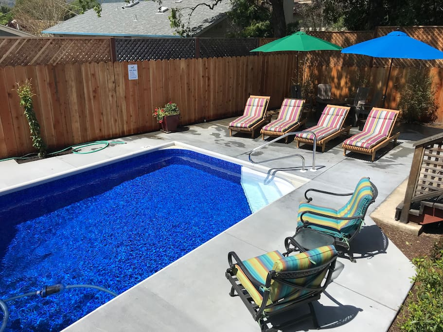 High redwood fencing provides total privacy. Skinny-dipping anyone?