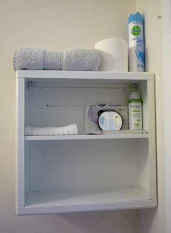 Toiletries in case you forget yours... and space to put your own, too