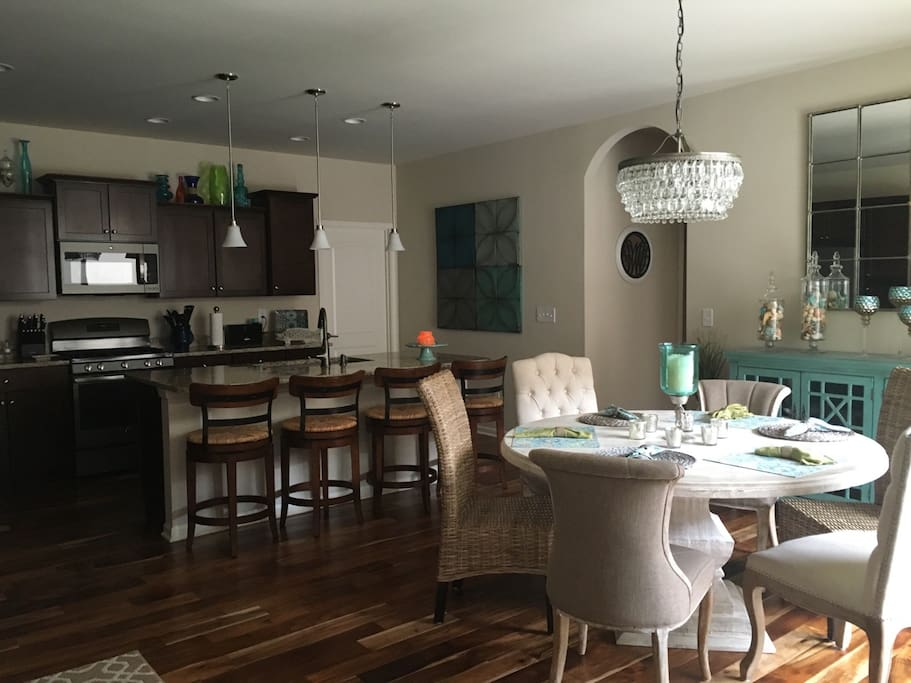 Open Kitchen / Dining Room with Snack Bar