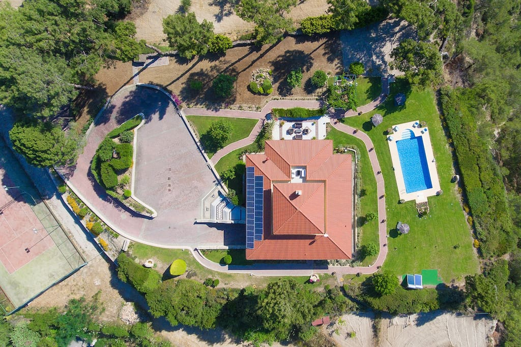 Drone shot above the house