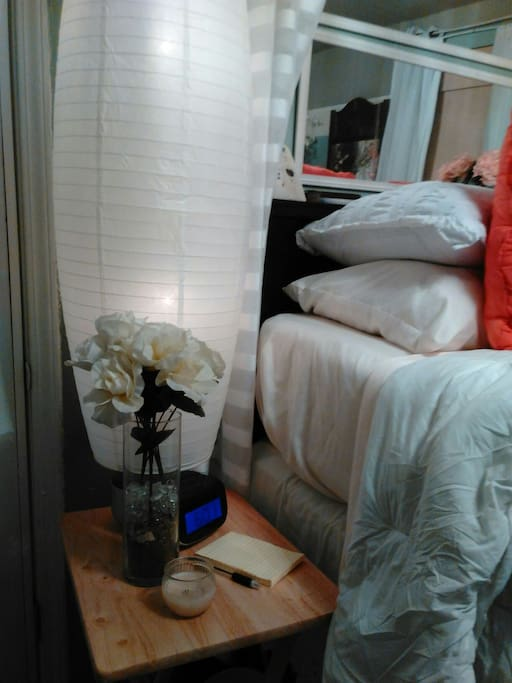 Bedside nite table and floor tap lighting