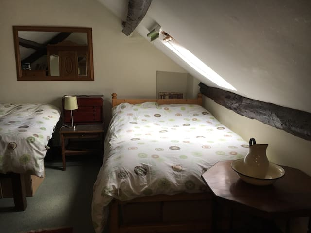 Spacious open plan, attic room near Hay and Brecon