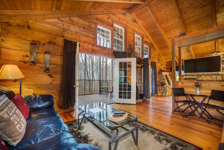 Cozy, dog-friendly cabin w/ hot tub, heart-shaped jetted tub, fireplace & more