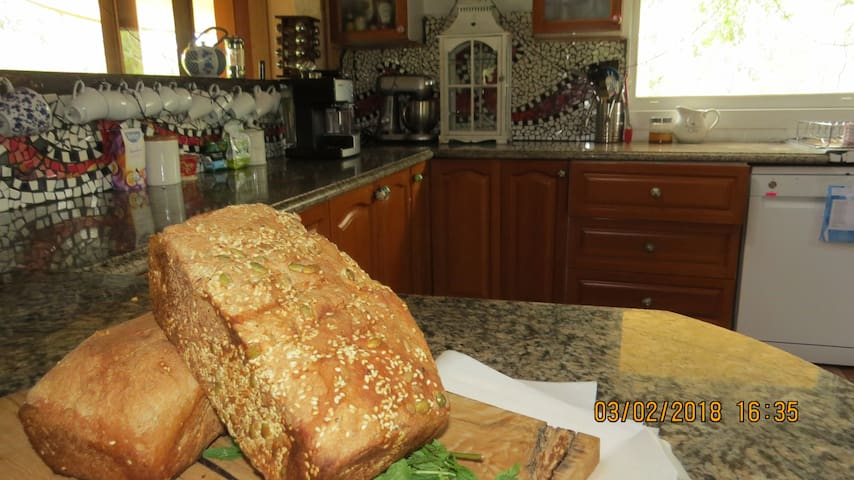 A loaf of fresh bread on arrival, share the kitchen, I'm happy to show you bread making. I can provide Meals if requested and special requests such as birthday cakes .