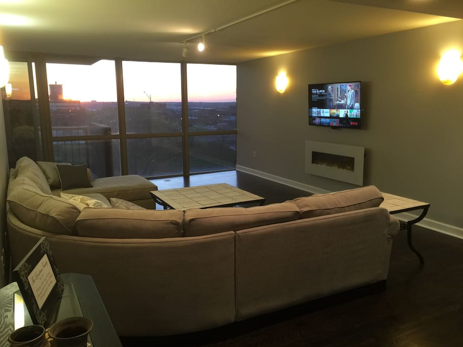 Living room with sunset view. Great way to relax at the end of the day.