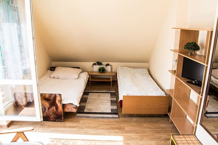 Room with Balcony /2 beds 3 guests, kitchen annex/