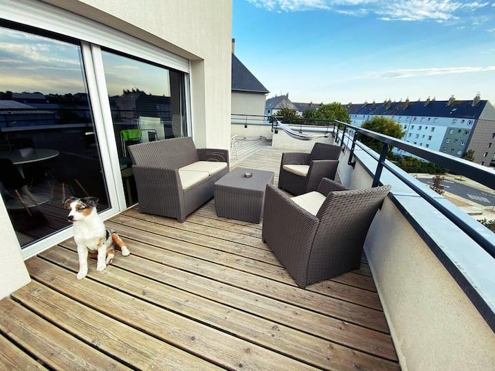 Saint Malo :Belle appartement avec grande terrasse