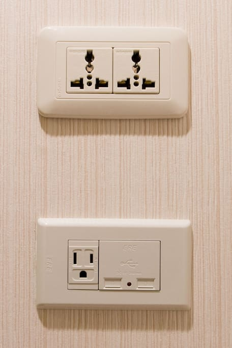 International plugs available  for visitors from different countries.