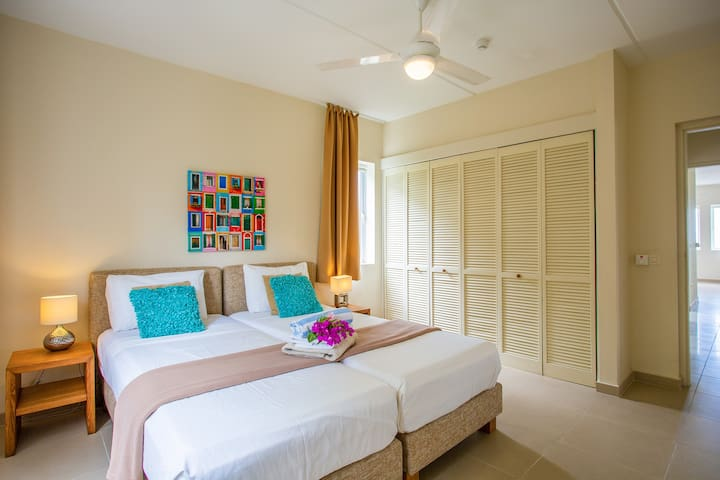 The 3th bedroom has 2 queen beds, a private bathroom, air conditioner, ceiling ventilator, mosquito screens for the windows and a large cabinet