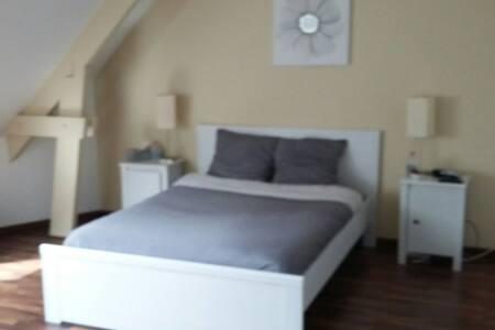 Chambre lit 2 personnes. Sdb privée - Ruaudin