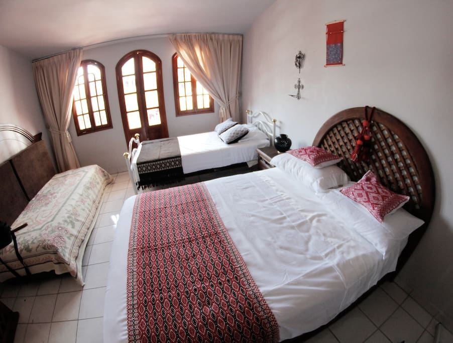 The room has one double size bed, and single size bed