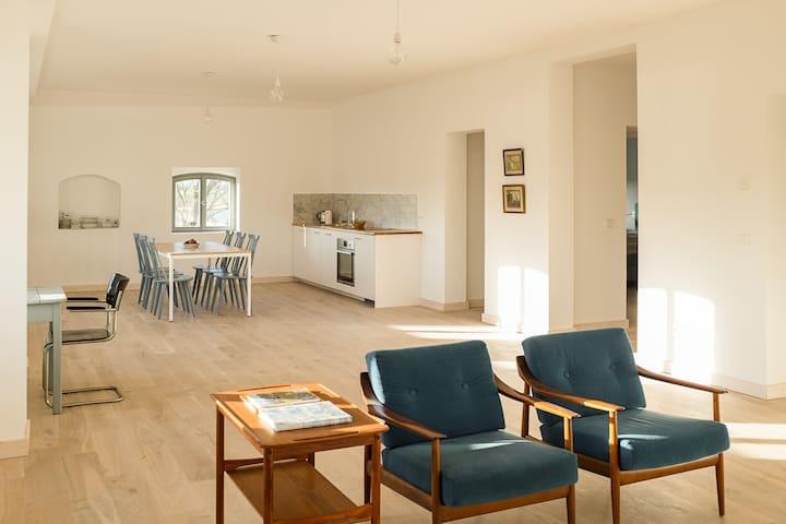 Wohnzimmer mit Küche & Essbereich