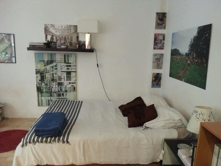 Une chambre à Paris 20ème avec un petit jardin.