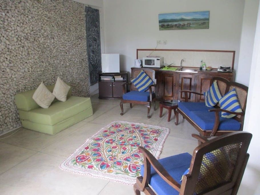 Lounge area with pantry at the back