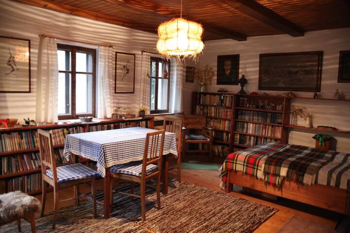 Obývací pokoj plný knih,  s křeslem a dvojlůžkem.  ENG A living room filled with books and armchairs and a queen-size bed.