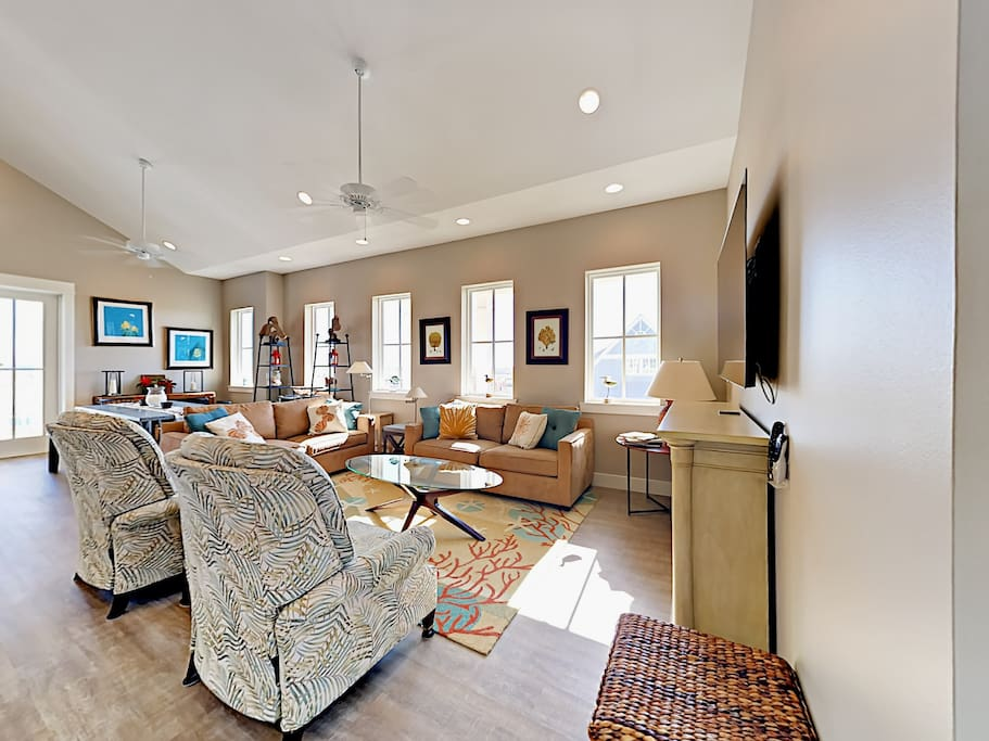 On the 3rd floor, the spacious living area provides plenty of comfortable seating for your crew.