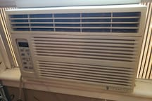 Window air conditioner for warm days.