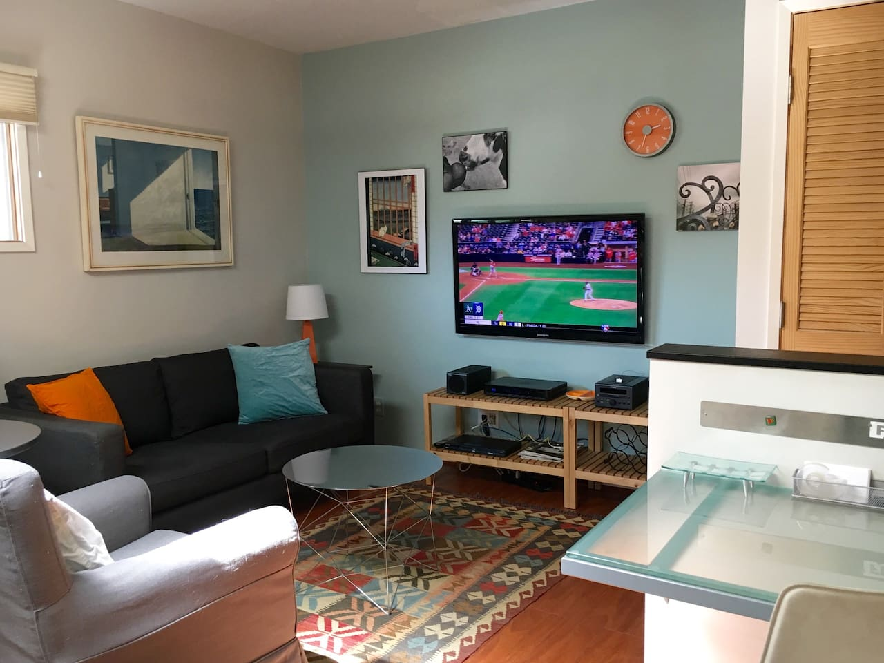 An overview of the Living Room and Desk area. The round dining table is just visible on the left.
