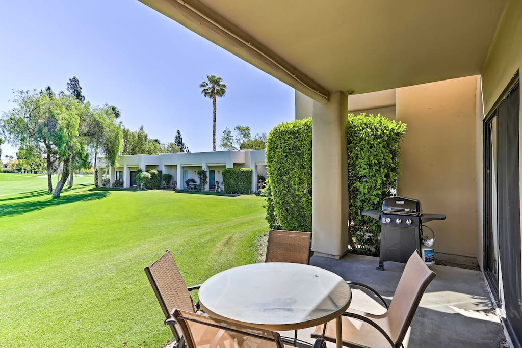 Enjoy front row seats to the golf course from the patio.