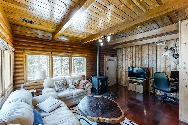 Rustic cabin-style home with wood stove, private gas grill, and picnic table!