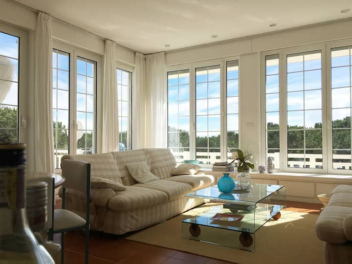 Seafront apartment with terrace and big garden.