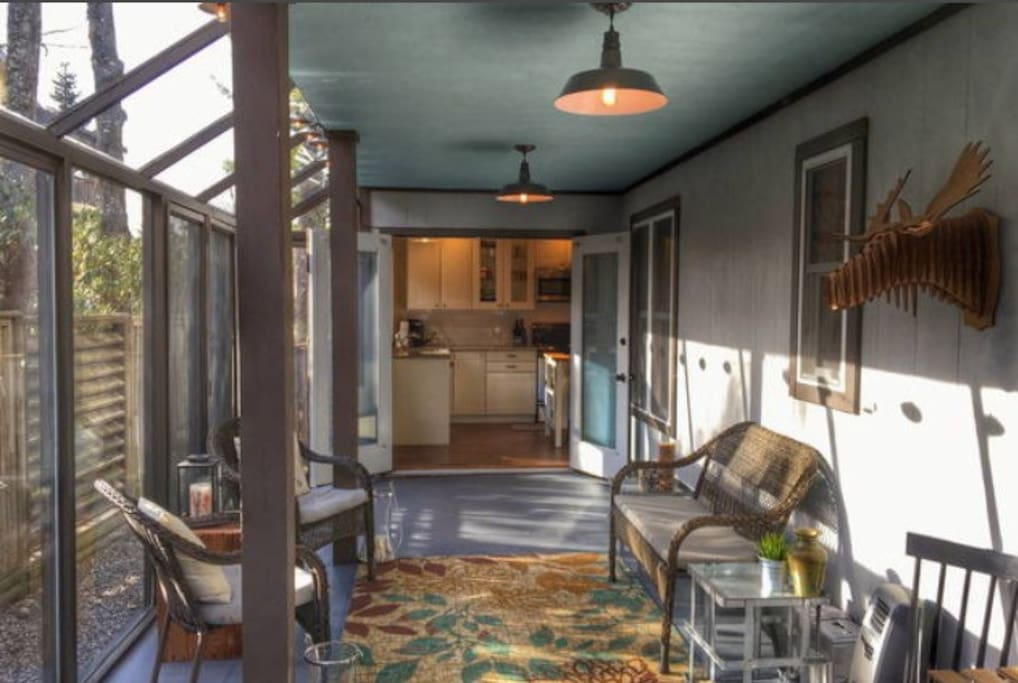 Beautiful sun room connects right off of the kitchen