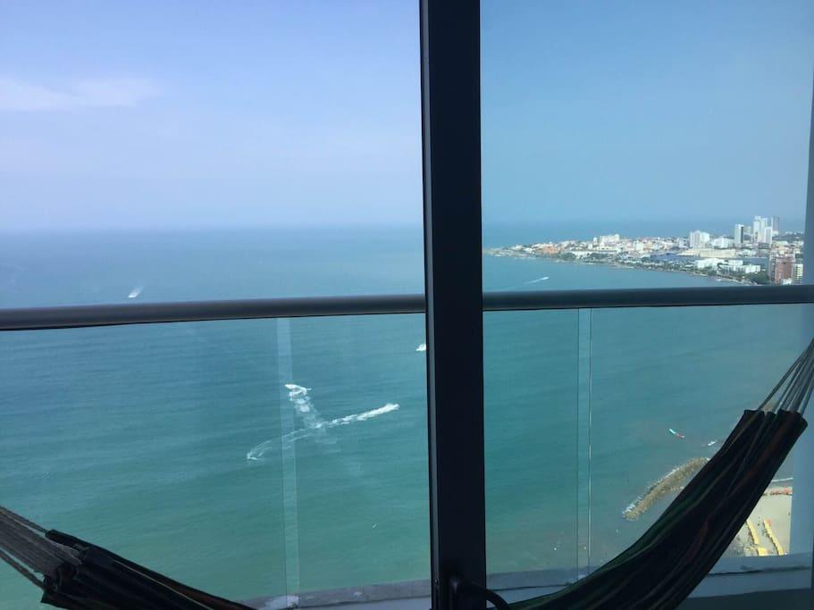 View of the caribbean from the hammock on the balcony. 40th floor!
