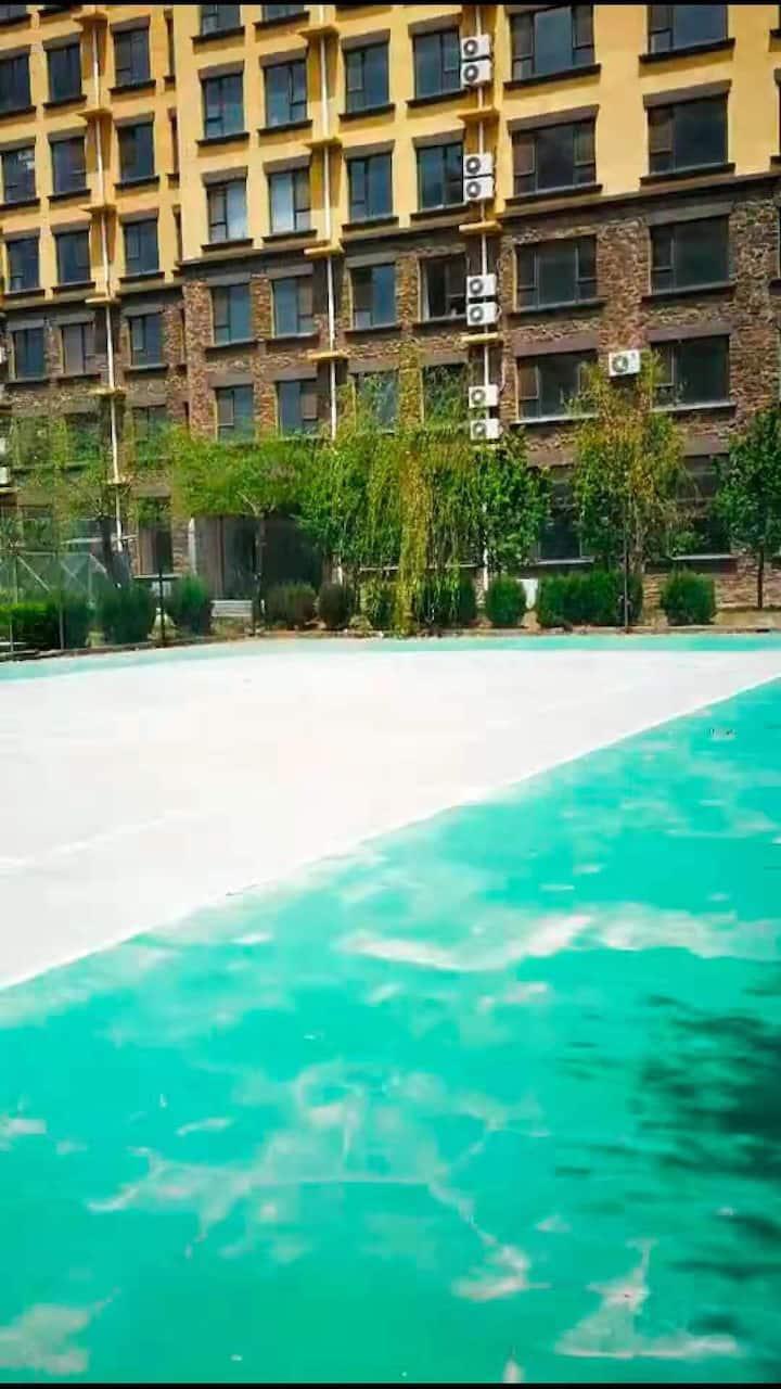 7D【85°温泉公寓】二室一厅双泡池麻将房可住5人