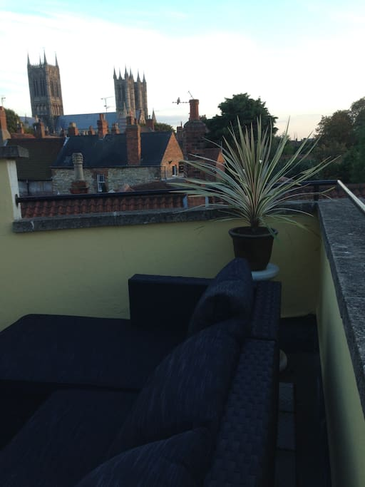 Stunning views of Lincoln's magnificent Cathedral from private roof terrace