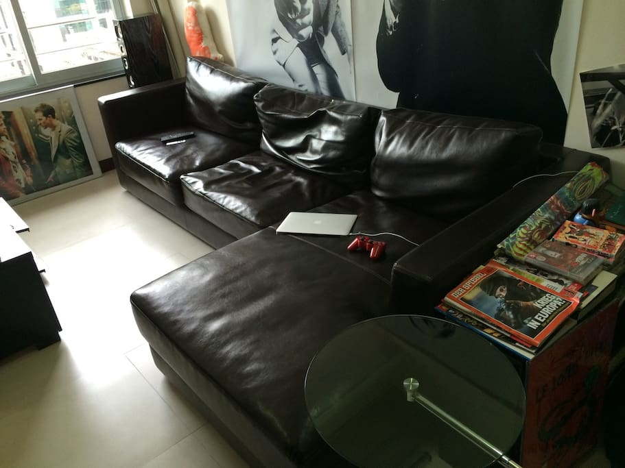 Large Italian Leather Sofa