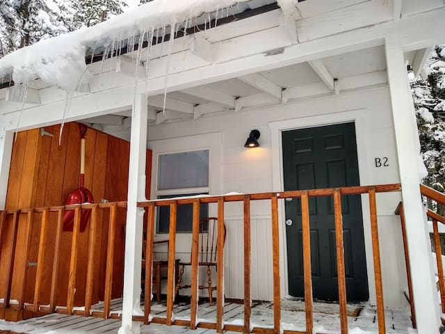 Front porch with icicles.