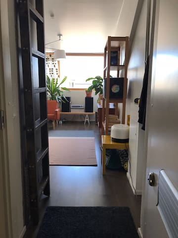 Entrance. The ladder pulls out and leads to a small second level, with a workspace and guest mattress