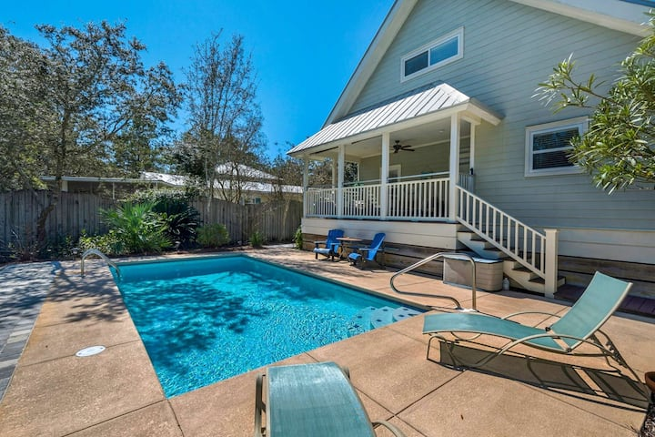 Charming Beach Cottage-Private Heated Pool-Short Walk To The Beach -Large Porch -South Of 30A