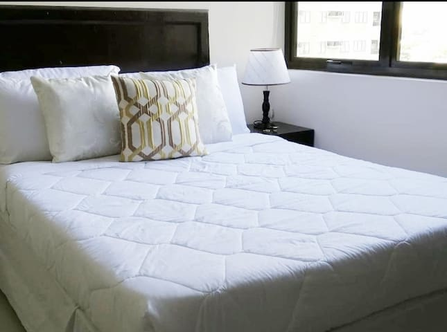A comfortable big double bed