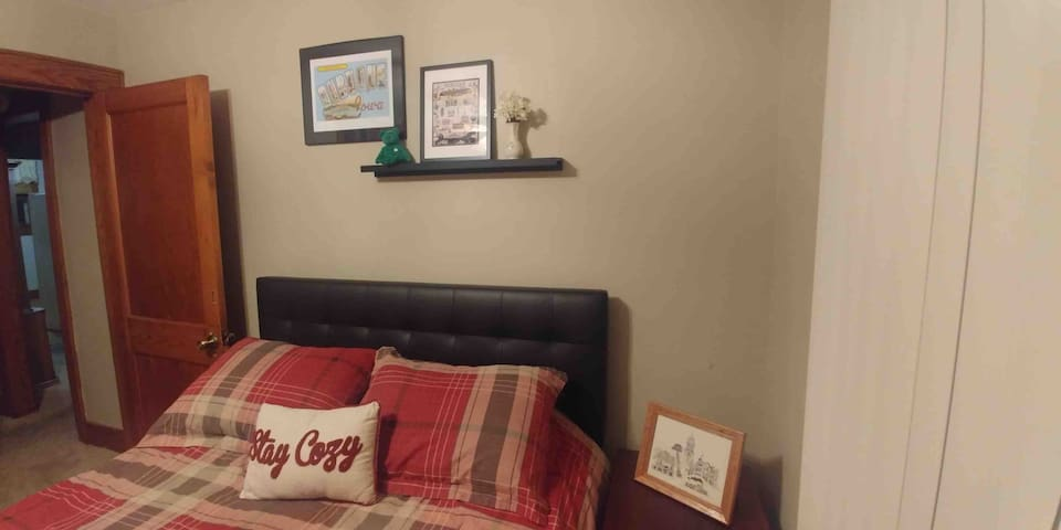 """Bedroom 1 aka the """"Dubuque Room""""  Since our father is from Dubuque we have dedicated a room just for that wonderful town (try a lovely walk to Dubuque from house via the Mississippi bridge- there is pedestrian walkway)"""